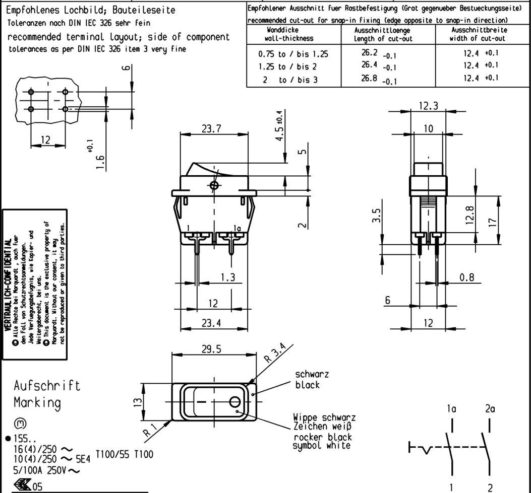 Billenő fekete MIDI 2 áramkörös kapcsoló ON-OFF I/O jelzéssel 16A SW2163-2PCB -