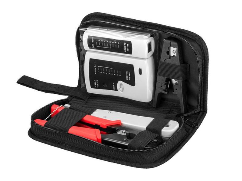 4-az1-ben IT szett, Patch panel kábelező / betűző - krimpelő, csupaszoló, és tesztelő TOOL-06019-SET