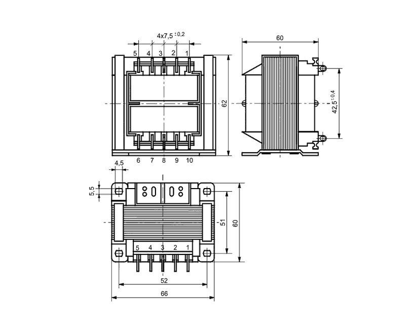 TRAFO 230VAC / 2x9VAC 2x2.2A 40VA TRAFO9VX2/40 -