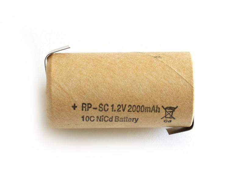 Ni-Cd 1.2V 2000mAh akkumulátor 23x43mm Sub-C, forrfüles