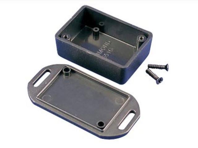 Univerzális műanyag doboz, peremes és füles 50x35x20mm, fekete BOX HM1551GFLBK -