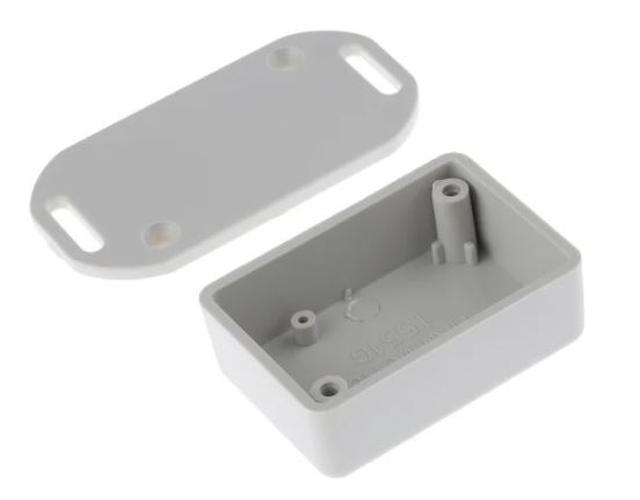 Univerzális műanyag doboz, peremes és füles 50x35x20mm, szürke BOX HM1551GFLGY -