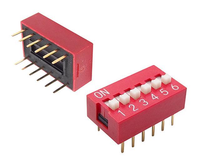 6 érintkezős DIP kapcsoló Standard piros DS-06 R