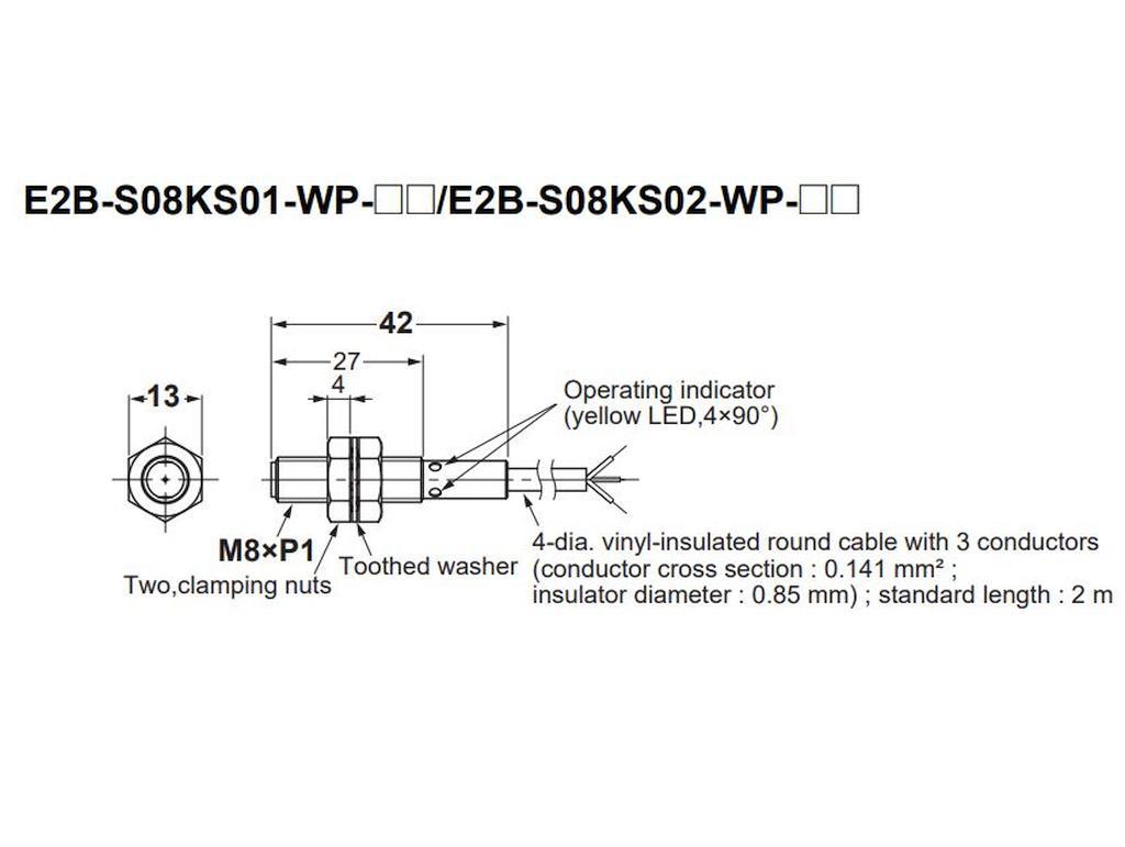 OMRON M8 Indukciós közelség érzékelő, PNP NO 2m vezeték 3p. IP67 E2BS08KS02WPB1 2M -
