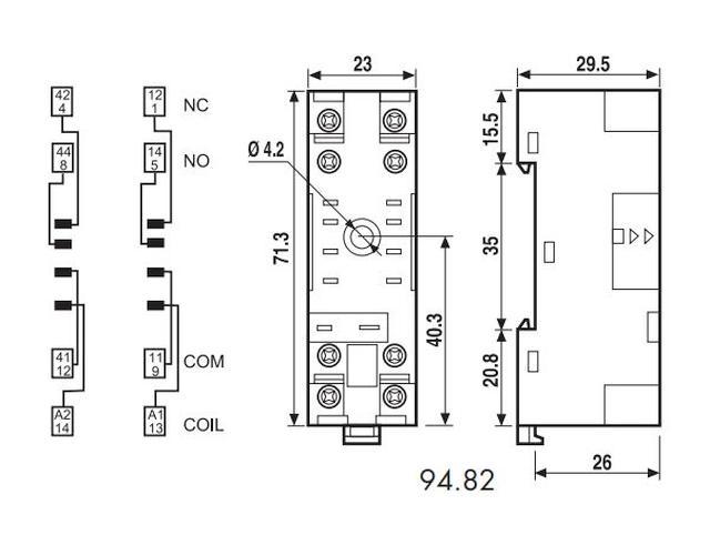 RELÉ foglalat sínre 8p. IP20 94.82 RELAY-F/9482 -