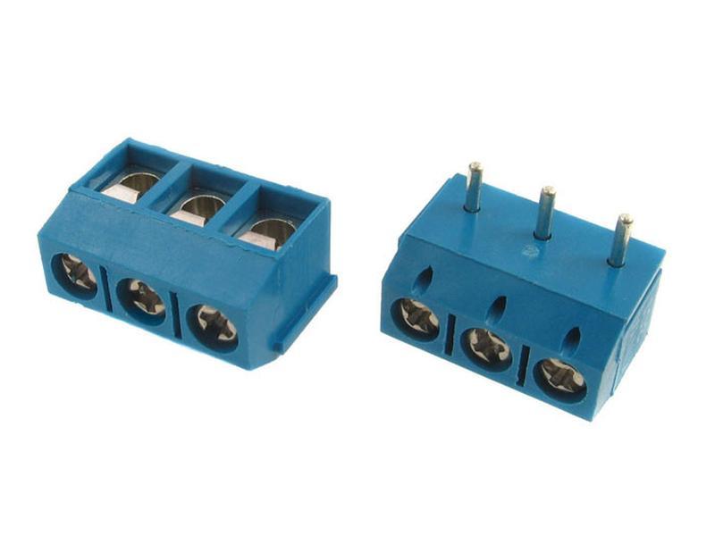 3 Pólusú sorkapocs 5mm 90° nyákos 1,5...4mm2 (kék, sorolható) TB-003/5-90BP